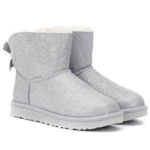 NEW UGG Bailey Bow Silver Boots